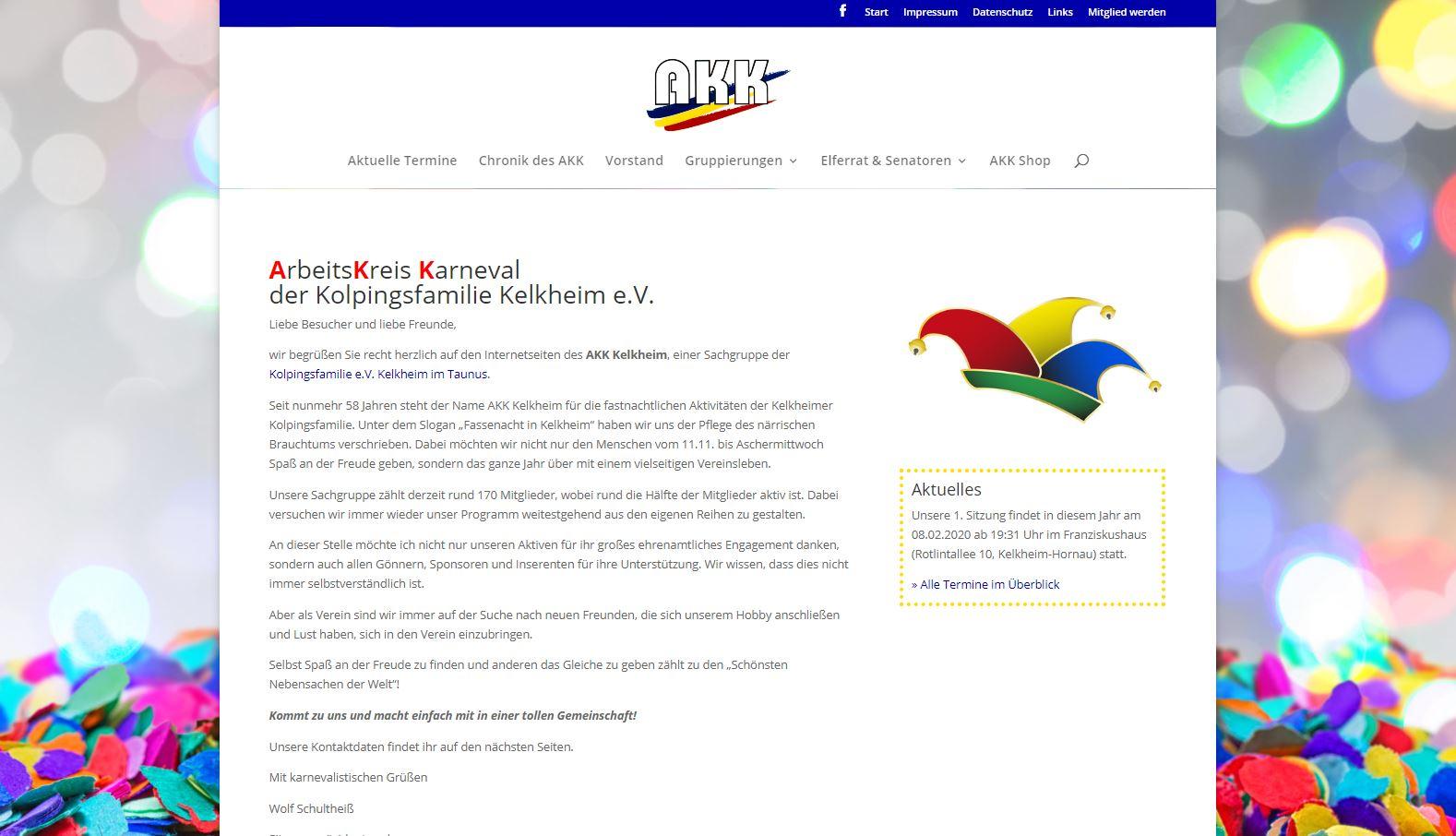 Website des AKK Kelkheim seit 2020